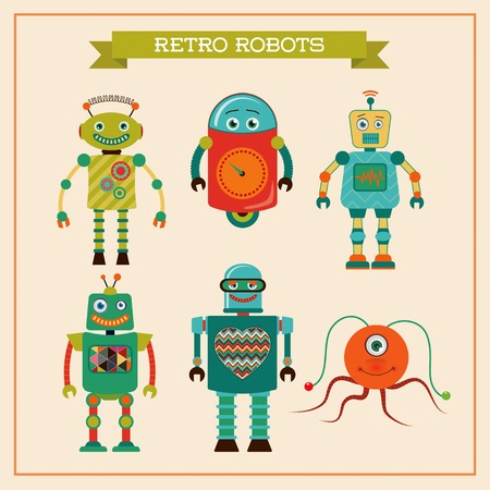 Set of cute retro vintage robots. Vector Illustration