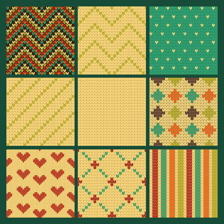 christmas seamless pattern: Set of  Seamless Knitting Patterns. Vector illustration. Illustration