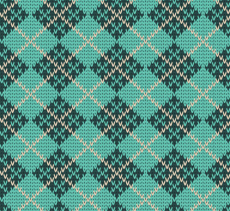 lozenge: Seamless Rhombus Blue Color Knitted Pattern  Illustration