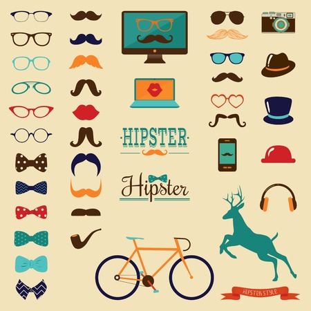 Hipster Colorful Retro Vintage Icon Set Vector