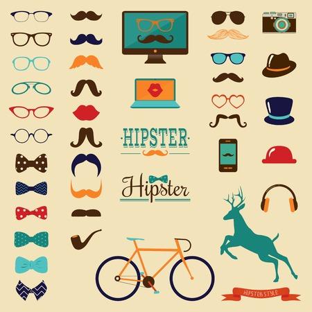 Hipster Kleurrijke Retro Vintage Icon Set Stock Illustratie