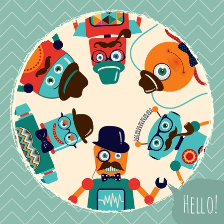 Hipster Retro Robots Card Illustration 向量圖像