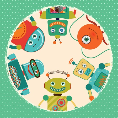 Vintage Retro Robots Card Illustratie