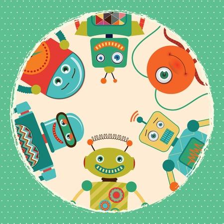 Vintage Retro Robots Card Illustration Vector