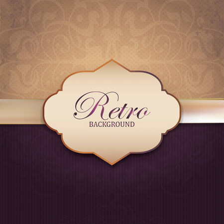 Vintage Frame with Ornamental round damask lace pattern.   Vector