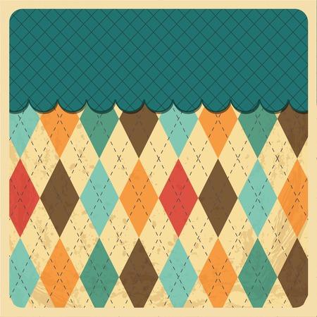 top menu: Vintage Rhombus Background with Grunge Texture. Top Menu