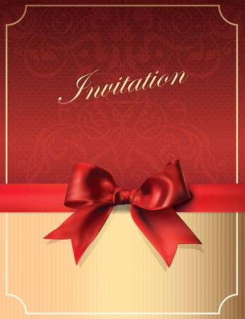 Vintage Invitation card with Bow. Retro Background. Vector