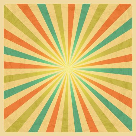 Vector Vintage Sunburst Background with Grunge Texture