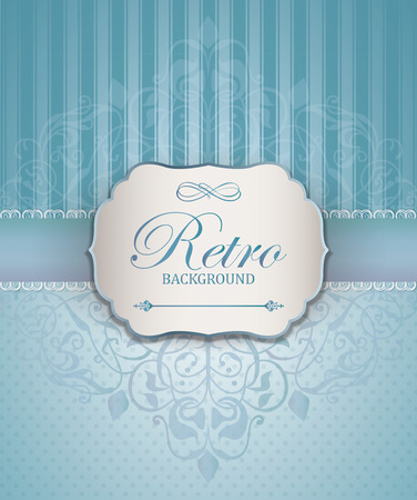 Vintage Frame with Ornamental damask lace pattern.  Space for text. Retro Background. Vector illustration Vector
