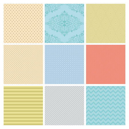 Seamless Colorful geometric minimalistic subtle background patterns. Vector