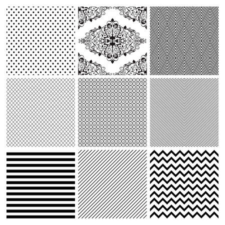 zag: Seamless Black and White geometric subtle background patterns.