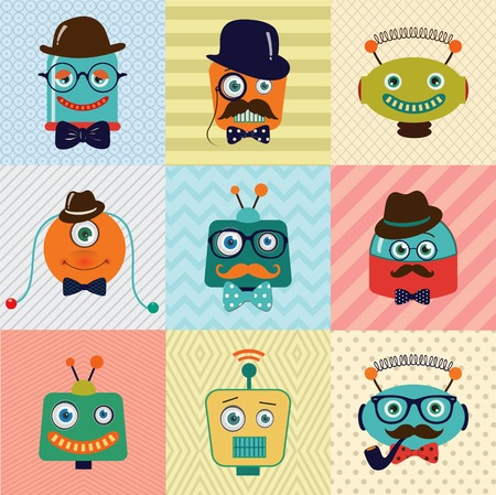 Colorful Vintage Hipster Cute Fashion Robots Background Vector