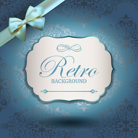 Vintage Frame with Ornamental round damask lace pattern.  Space for text. Retro Background. Corner Ribbon Bow Vector