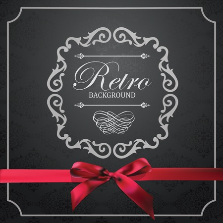black bow: Vintage Frame with Ornamental round damask lace pattern.  Space for text. Red Silk Ribbon with Bow.