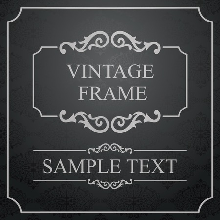 Vintage Frame with Ornamental round damask lace pattern.  Space for text. Retro Background. Vector Illustration Vector