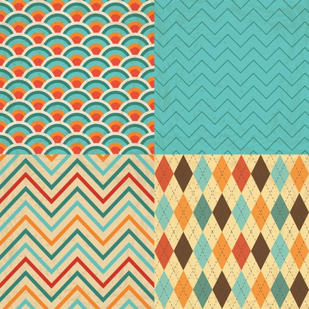 Set of Vintage Geometric Backgrounds with Grunge Texture Vector