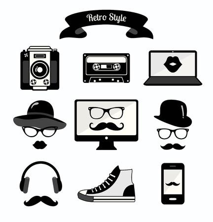 cassette tape: Black and White Vintage Retro Hipster Style Media Icons Illustration