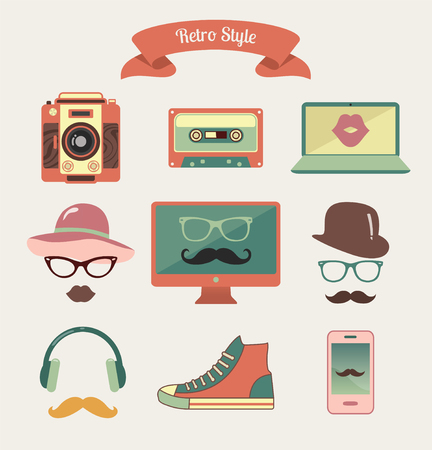 old shoes: Colourful Vintage Retro Hipster Style Media Icons Illustration