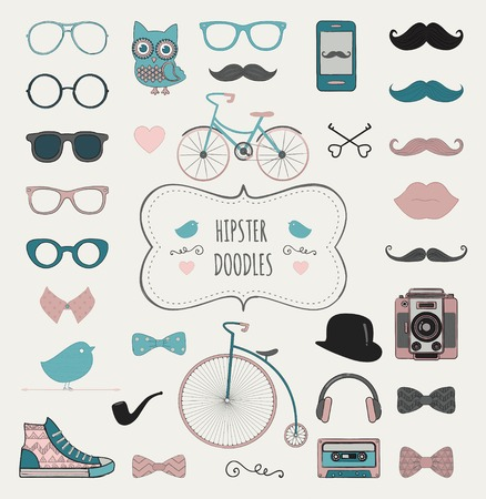 Cute Hipster Colorful Retro Vintage Doodle Icon Set Illustration Vector