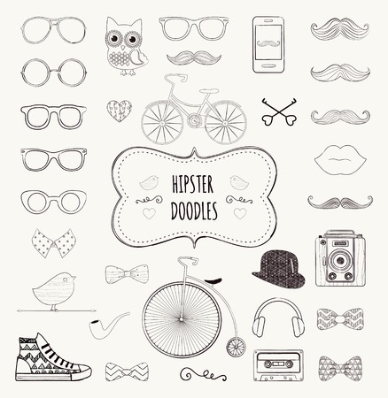 Cute Hipster Black and White Retro Vintage Doodle Icon Set Illustration Vector