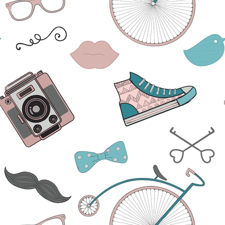 Colourful Vintage Seamless Background Pattern with Cute Retro Hipster Doodle Icons Vector