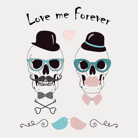 hand illustration: Love Me Forever Funny Vector Illustration with Skulls of Hipster Lady and Gentleman  Vintage Style