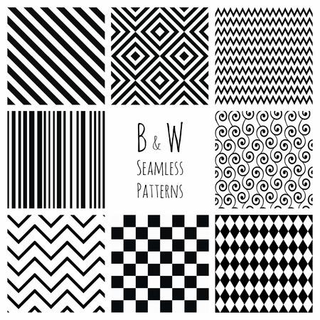 black swirls: Set of 8 Seamless Black and White Geometric  Illustration