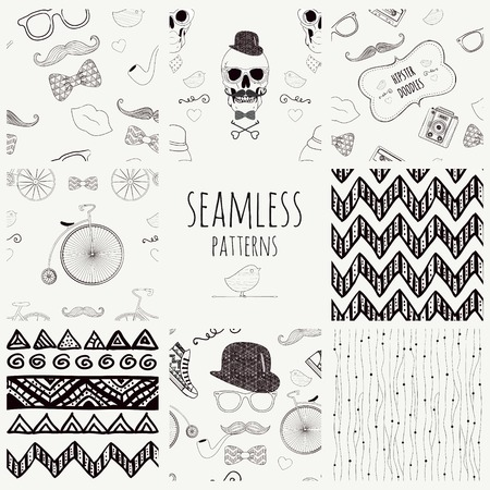 Set of 8 Seamless Vintage Hipster and Geometric Vector