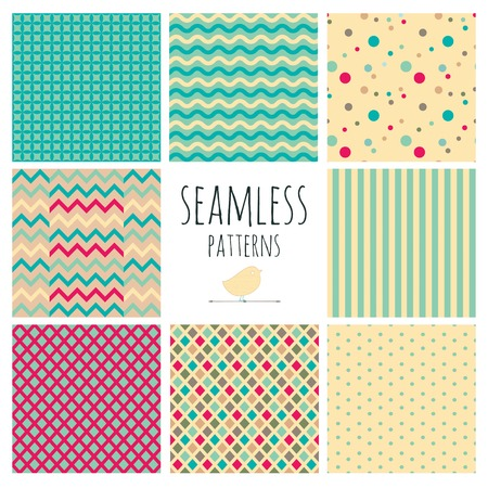 Set of 8 Seamless Colorful Vintage Geometric Colorful  Illustration