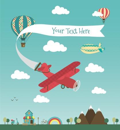 Retro Air Plane Banner Design met Vintage Luchtschepen als Aerostat en Air Balloon. Vector Illustratie. Mini Town met Leuke Huis en Bikes
