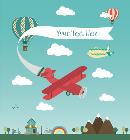 biplane: Retro Air Plane Banner Design with Vintage Airships like Aerostat and Air Balloon. Vector Illustration. Mini Town with Cute House and Bikes