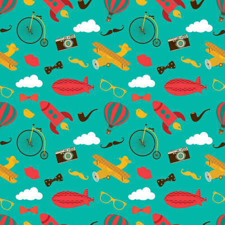 aerostat: Vintage Air Vehicles Seamless Background Pattern with Retro Air Plane, Aerostat and Air Balloons