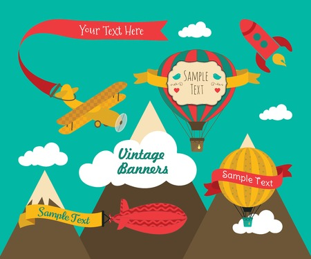 aerostat: Set of Vintage Air Vehicles Banner Design with Retro Air Plane, Aerostat and Air Balloons Illustration