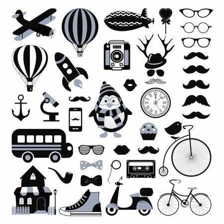 Retro Black and White Icon Set Vector