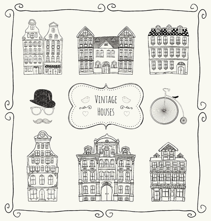 Vintage Old Styled Hand Drawn Doodle Houses Icon Set  Vector Illustration   Vector