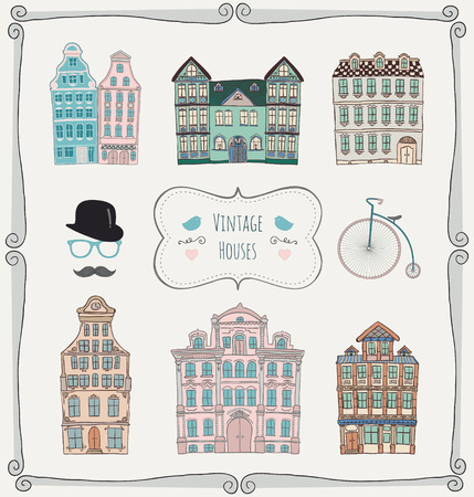 Colorful Vintage Old Styled Hand Drawn Doodle Houses Icon Set  Vector