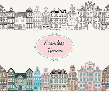 Dessinée coloré vintage de style ancien main Doodle Seamless Maisons Vecteurs