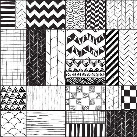 Black and White Geometric Hand-drawn Abstract  Illustration