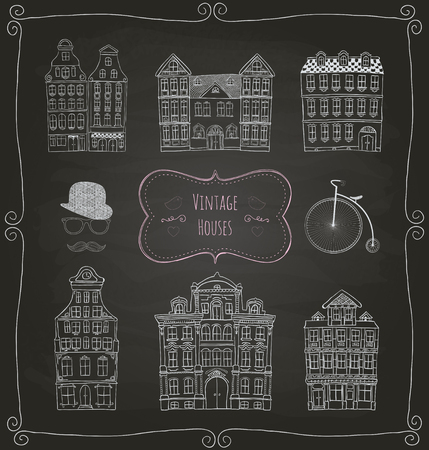Vintage Old Styled Hand Drawn Doodle Houses Icon Set  Chalk Drawing  Illustration  Vector