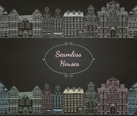 Colorful Vintage Old Styled Hand Drawn Doodle Seamless Houses  Chalk Drawing Illustration