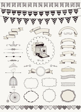 Vector Black and White Hand Drawn Banners, Ribbons, Frames