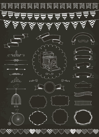 Vector Chalk Drawing Banners, Ribbons, Frames
