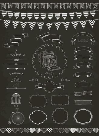 chalkboard: Vector dessin à la craie Bannières, rubans, Cadres