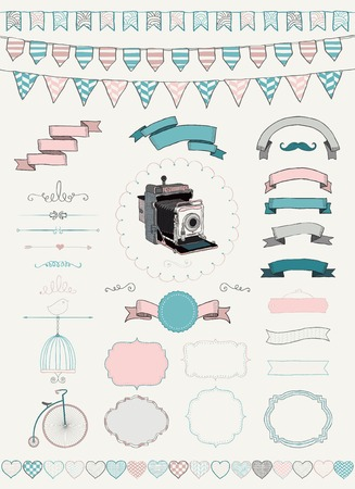 Vector Colorful Hand Drawn Banners, Ribbons, Frames