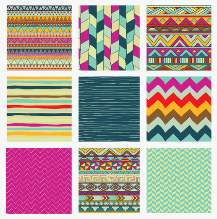 striped wallpaper: Set of 9 Hand Drawn Aztec Tribal Seamless Colorful Background Patterns. with Pattern Swatches