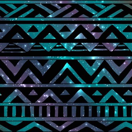 Hand Drawn Black Aztec Tribal Seamless Background