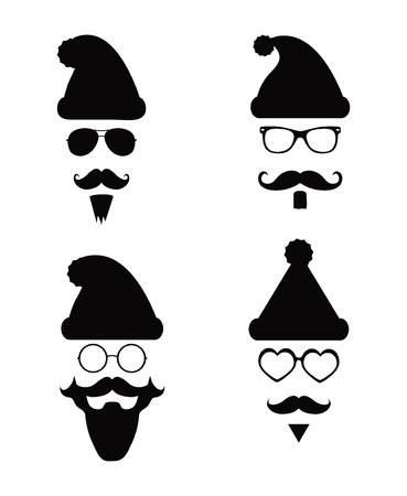 Black and White Santa Klaus fashion silhouette hipster style, illustration icons