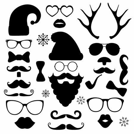 Black and White Christmas silhouette set hipster style, illustration icons Vector