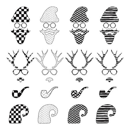 elf hat: Christmas Hipster Black and White Retro Vintage Vector Icons with Geometric Hand Drawn Pattern Background