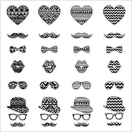 black bow: Hipster Black and White Retro Vintage Icons